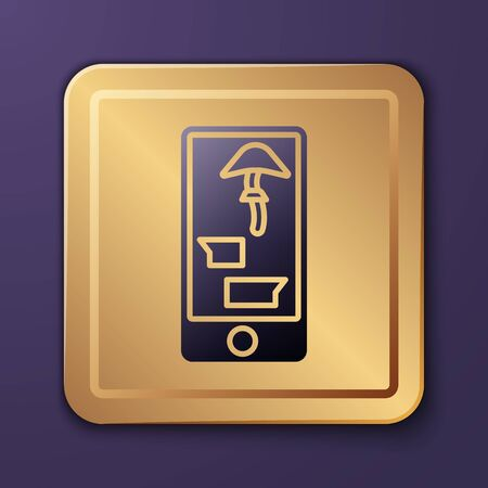 Purple Buying drugs online on mobile phone icon isolated on purple background. Online buying symbol. Gold square button. Vector Illustration 일러스트