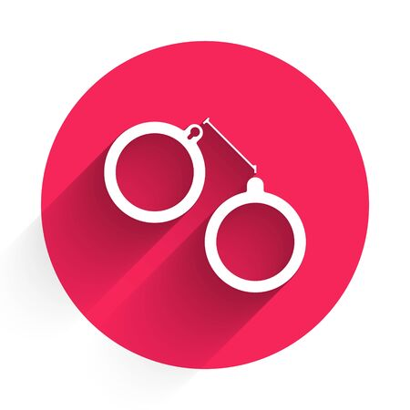 White Handcuffs icon isolated with long shadow. Red circle button. Vector Illustration