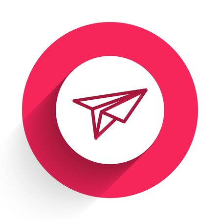 White Paper plane icon isolated with long shadow. Paper airplane icon. Messenger concept. Red circle button. Vector Illustration Ilustrace