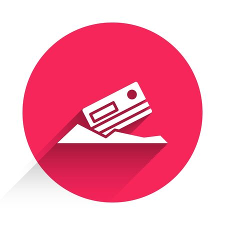 White Cocaine and credit card icon isolated with long shadow. Red circle button. Vector Illustration