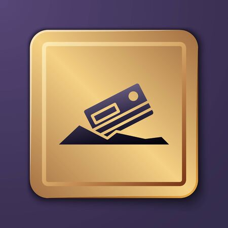 Purple Cocaine and credit card icon isolated on purple background. Gold square button. Vector Illustration