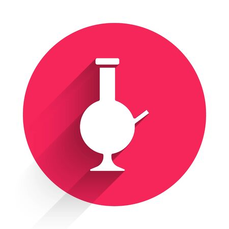 White Glass bong for smoking marijuana or cannabis icon isolated with long shadow. Red circle button. Vector Illustration Illustration