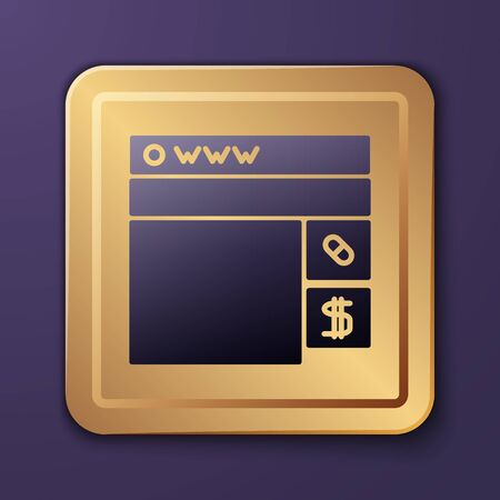 Purple Buying drugs online icon isolated on purple background. Online buying symbol. Gold square button. Vector Illustration
