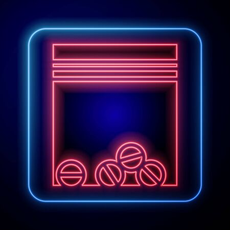 Glowing neon Plastic bag of drug icon isolated on blue background. Health danger.  Vector Illustration Illustration