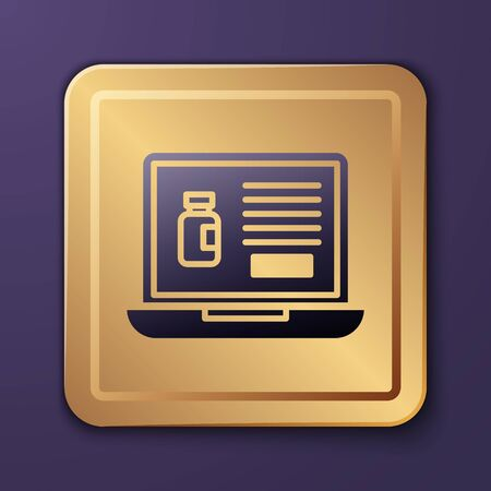 Purple Buying drugs online on laptop icon isolated on purple background. Online buying symbol. Gold square button. Vector Illustration