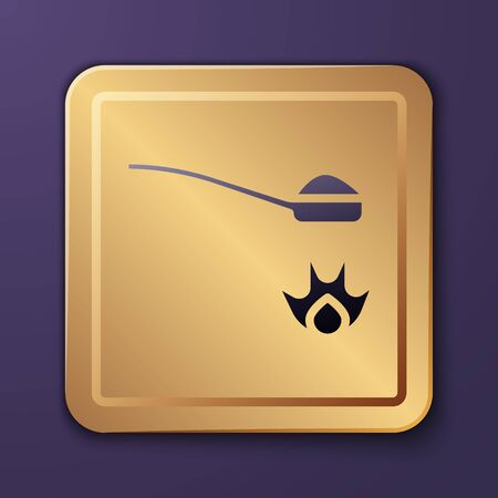 Purple Heroin in a spoon icon isolated on purple background. Concept of drug addiction and dependence from the narcotic. Junkie lifestyle. Gold square button. Vector Illustration