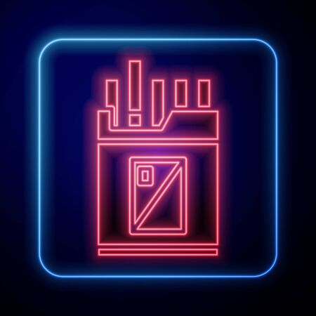 Glowing neon Open cigarettes pack box icon isolated on blue background. Cigarettes pack. Vector Illustration