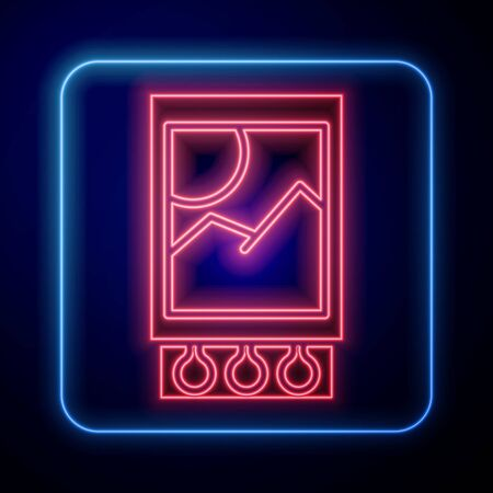 Glowing neon Open matchbox and matches icon isolated on blue background. Vector Illustration Ilustração