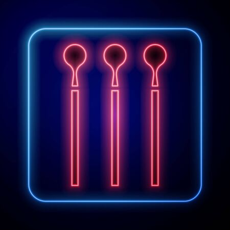 Glowing neon Matches icon isolated on blue background. Vector Illustration Ilustração