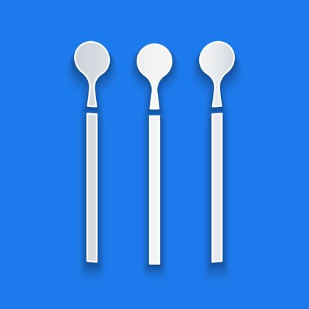 Paper cut Matches icon isolated on blue background. Paper art style. Vector Illustration