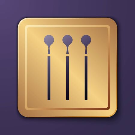 Purple Matches icon isolated on purple background. Gold square button. Vector Illustration