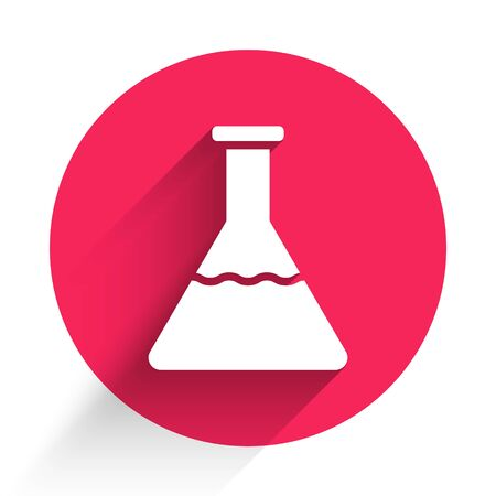 White Test tube and flask chemical laboratory test icon isolated with long shadow. Laboratory glassware sign. Red circle button. Vector Illustration