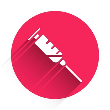 White Syringe icon isolated with long shadow. Syringe for vaccine, vaccination, injection, flu shot. Medical equipment. Red circle button. Vector Illustration