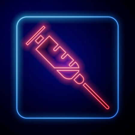 Glowing neon Syringe icon isolated on blue background. Syringe for vaccine, vaccination, injection, flu shot. Medical equipment.  Vector Illustration Ilustrace