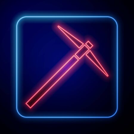 Glowing neon Pickaxe icon isolated on blue background. Vector Illustration