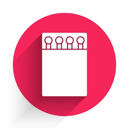 White Open matchbox and matches icon isolated with long shadow. Red circle button. Vector Illustration Ilustração