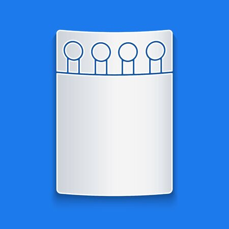 Paper cut Open matchbox and matches icon isolated on blue background. Paper art style. Vector Illustration Illustration