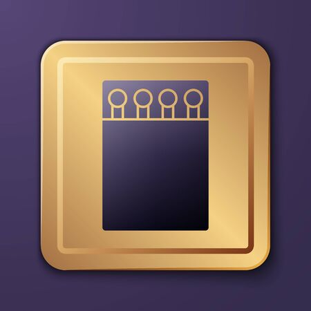 Purple Open matchbox and matches icon isolated on purple background. Gold square button. Vector Illustration
