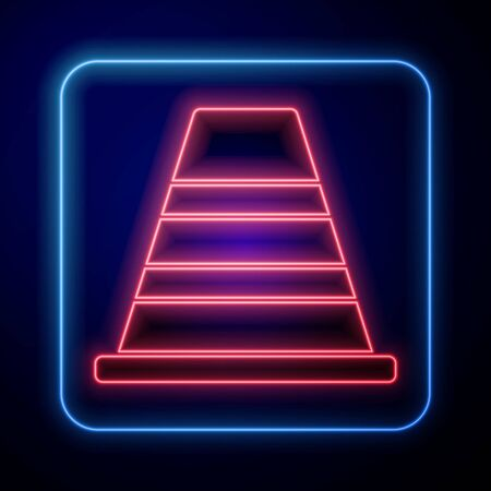 Glowing neon Traffic cone icon isolated on blue background.  Vector Illustration