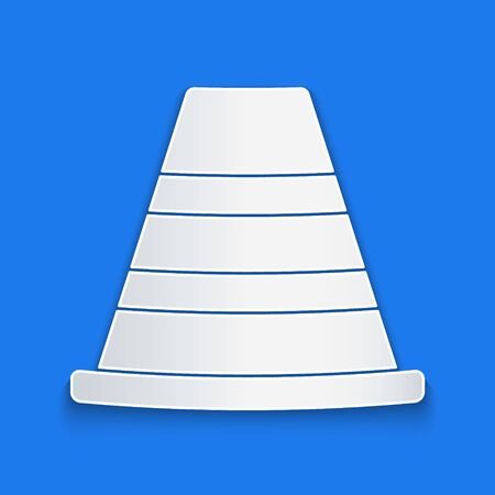 Paper cut Traffic cone icon isolated on blue background. Paper art style. Vector Illustration Stock Illustratie