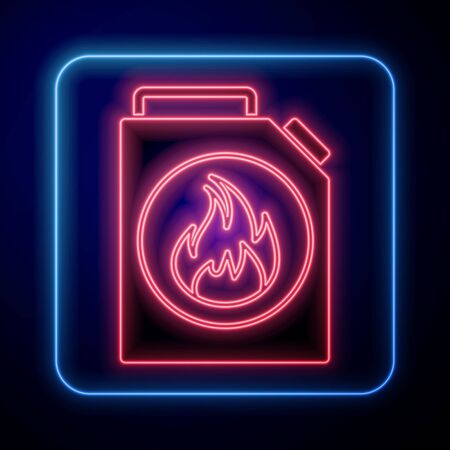 Glowing neon Canister for flammable liquids icon isolated on blue background. Oil or biofuel, explosive chemicals, dangerous substances.  Vector Illustration Vectores