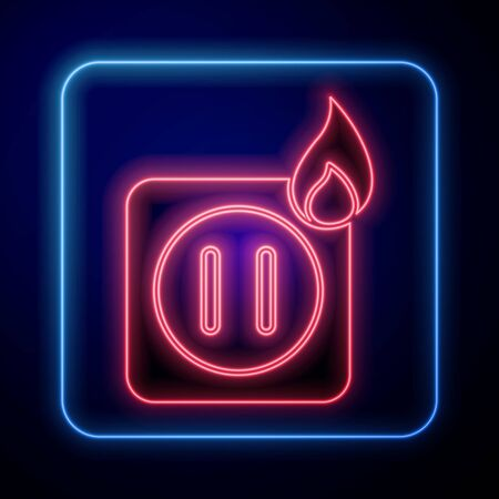 Glowing neon Electric wiring of socket in fire icon isolated on blue background. Electrical safety concept. Plug outlet on fire.  Vector Illustration Çizim