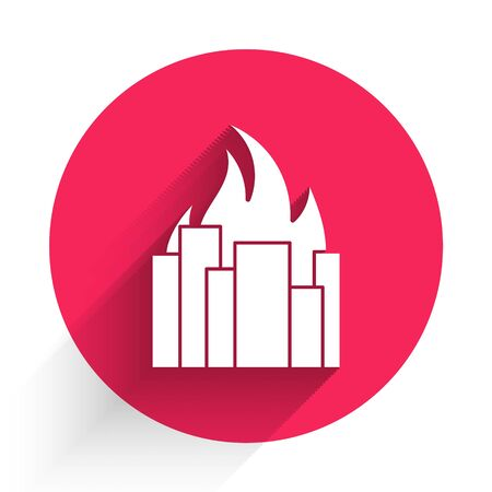 White Fire in burning buildings on city street icon isolated with long shadow. Destroyed city on fire. Red circle button. Vector Illustration Illusztráció