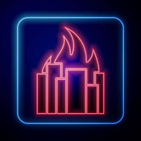 Glowing neon Fire in burning buildings on city street icon isolated on blue background. Destroyed city on fire. Vector Illustration Illusztráció