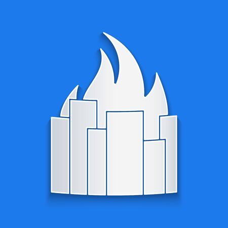 Paper cut Fire in burning buildings on city street icon isolated on blue background. Destroyed city on fire. Paper art style. Vector Illustration