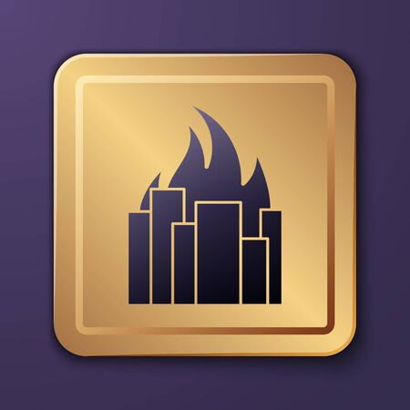 Purple Fire in burning buildings on city street icon isolated on purple background. Destroyed city on fire. Gold square button. Vector Illustration Illusztráció