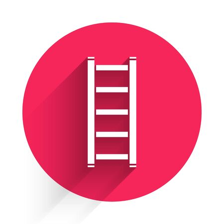 White Fire escape icon isolated with long shadow. Pompier ladder. Fireman scaling ladder with a pole. Red circle button. Vector Illustration Vettoriali