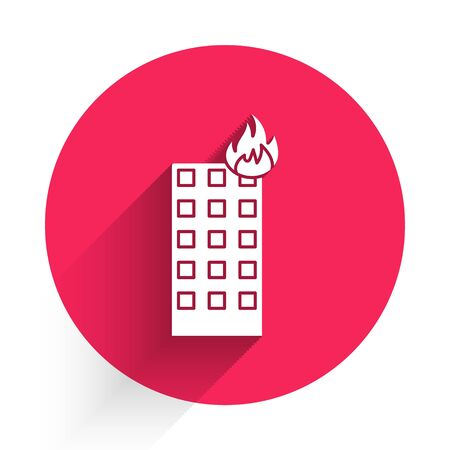 White Fire in burning building on city street icon isolated with long shadow. Red circle button. Vector Illustration Illusztráció