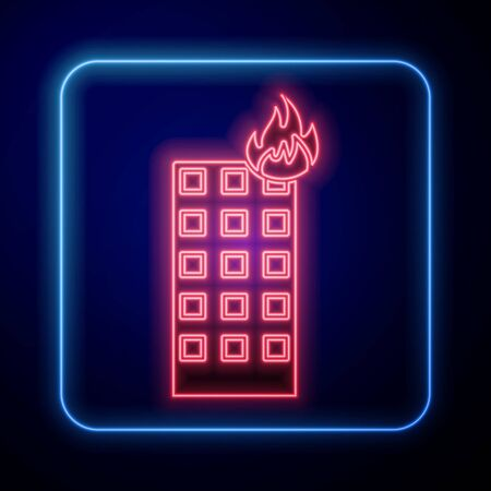 Glowing neon Fire in burning building on city street icon isolated on blue background. Vector Illustration Illusztráció