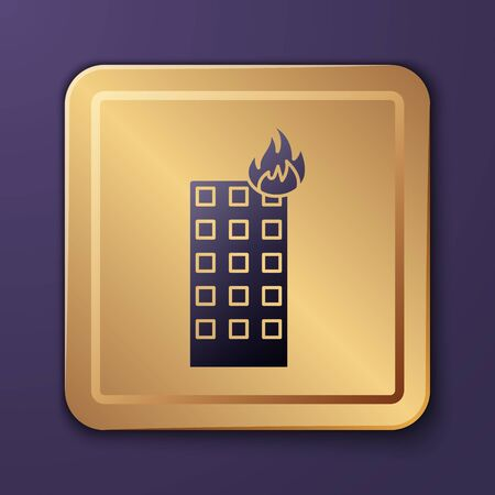 Purple Fire in burning building on city street icon isolated on purple background. Gold square button. Vector Illustration