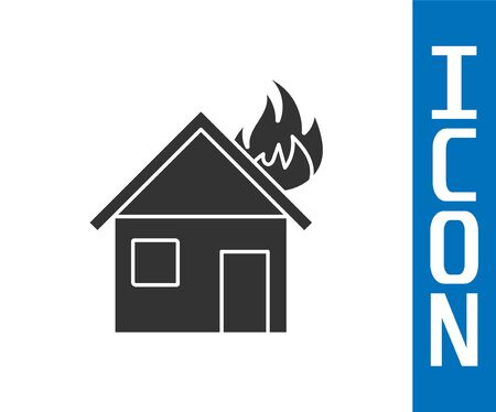 Grey Fire in burning house icon isolated on white background. Vector Illustration
