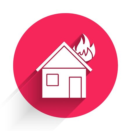 White Fire in burning house icon isolated with long shadow. Red circle button. Vector Illustration
