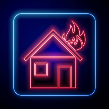 Glowing neon Fire in burning house icon isolated on blue background. Vector Illustration Illusztráció