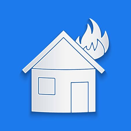 Paper cut Fire in burning house icon isolated on blue background. Paper art style. Vector Illustration Illusztráció