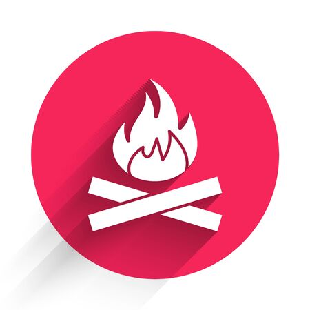White Campfire icon isolated with long shadow. Burning bonfire with wood. Red circle button. Vector Illustration Illustration