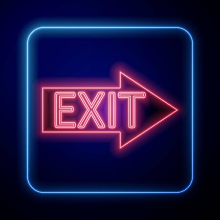 Glowing neon Fire exit icon isolated on blue background. Fire emergency icon. Vector Illustration