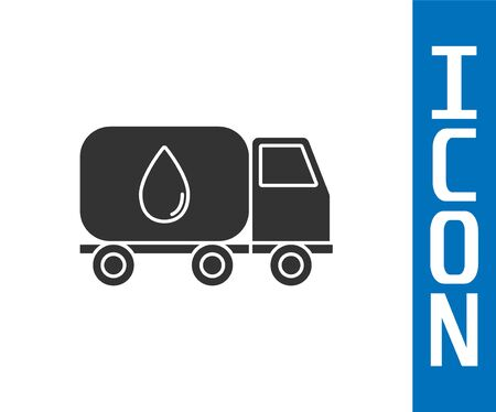 Grey Water delivery truck icon isolated on white background. Vector Illustration