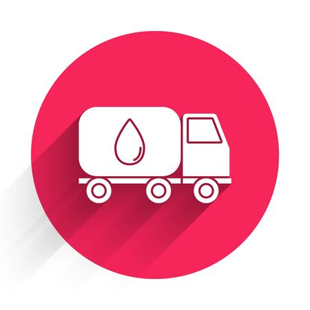 White Water delivery truck icon isolated with long shadow. Red circle button. Vector Illustration