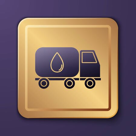 Purple Water delivery truck icon isolated on purple background. Gold square button. Vector Illustration Stock Illustratie
