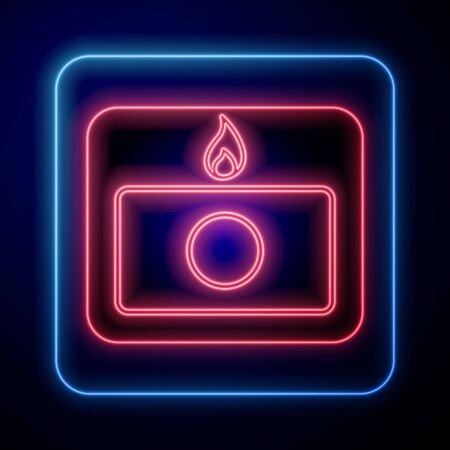 Glowing neon Fire alarm system icon isolated on blue background. Pull danger fire safety box. Vector Illustration