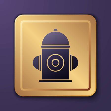 Purple Fire hydrant icon isolated on purple background. Gold square button. Vector Illustration Stock Illustratie