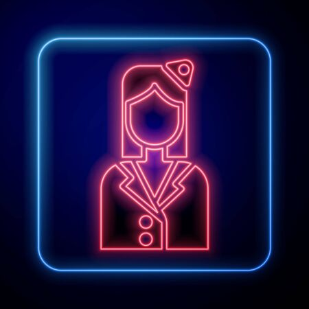 Glowing neon Stewardess icon isolated on blue background. Vector Illustration