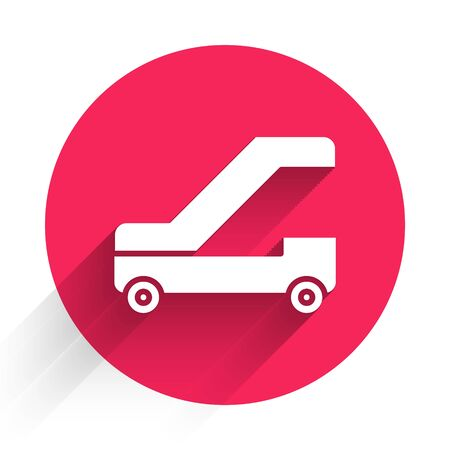 White Passenger ladder for plane boarding icon isolated with long shadow. Airport stair travel. Red circle button. Vector Illustration 向量圖像