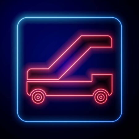 Glowing neon Passenger ladder for plane boarding icon isolated on blue background. Airport stair travel. Vector Illustration