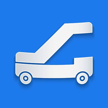 Paper cut Passenger ladder for plane boarding icon isolated on blue background. Airport stair travel. Paper art style. Vector Illustration