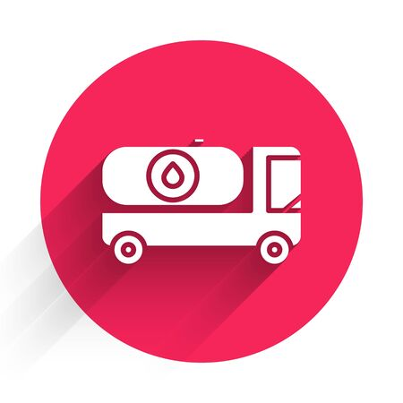 White Fuel tanker truck icon isolated with long shadow. Gasoline tanker. Red circle button. Vector Illustration